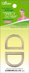 Bulk Buy: Clover Nancy Zieman's Bag Hardware D Rings 1in. 2/Pkg Satin Bronze 9533 (3-Pack) (Nancy Zieman Bag)