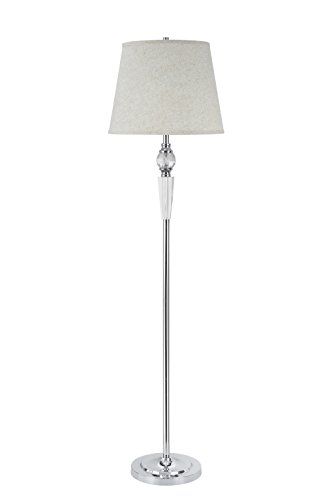 Aspen Creative 45003, 1-Light Crystal Accented Floor Lamp, Transitional Design in Chrome, 60