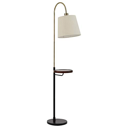 Rivet Franklin Shelf and USB Charging Station Floor Lamp, With Bulb, Brass, Black Metal and Wood, 65