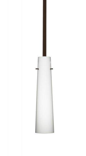 - Besa Lighting 1TT-567407-BR 1X50W E12 Camino Pendant with Opal Matte Glass, Bronze Finish