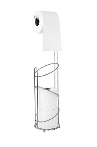 Brass Standing Toilet Tissue Stand - Inspired Living Tower Elegant III toilet-paper-holders, 2, SILVER