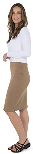 Women's Pencil Skirt Midi Premium Nylon Stretch Fit Tan Brown ()