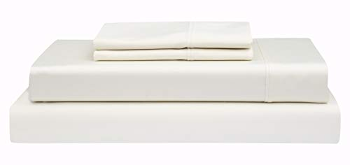 Count Linen - Boston Linen Co. 400 Thread Count, 100% Cotton Sheet Set - Extra Soft, Luxury Finish - Smooth and Silky Sateen Weave Long-Staple Combed Cotton - 4 Piece Set - Queen, Beige
