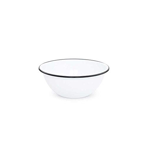 Enamelware Serving Bowl, 2 quart, Vintage White/Black