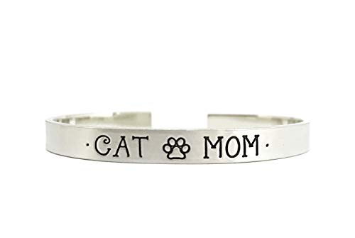 Cat Mom Bracelet - Cat Lady - Thick Pewter Cuff Bracelet - Hand Stamped Personalized Engraved -