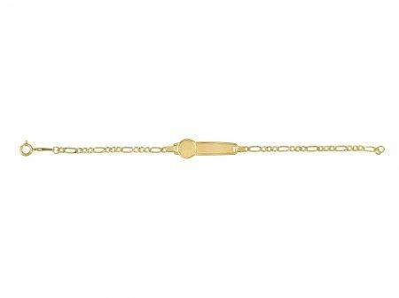 www.diamants-perles.com - Bracelet enfant - Identité bébé - Gourmette - Or - Maille Gourmette