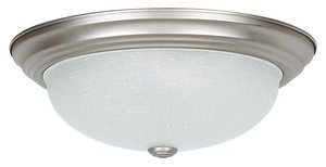 Sunset Lighting F7554-53 Flush Mount with Linen Glass, Satin Nickel Finish by Sunset Lighting