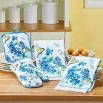 Shree Entp 4-Piece Floral Bird Oven Mitt Pot Holder & Dish Towel Kitchen Set