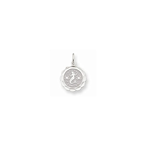 (14k White Gold Satin Polished Engravable Cancer Zodiac Scalloped Disc Char)