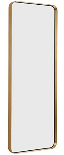 Hamilton Hills Contemporary Brushed Metal Tall Gold Wall Mirror | Glass Panel Gold Framed Rectangle Deep Set Design (18