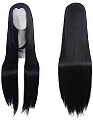 Widows Peak Black Wig - Widow's 100 cm Peak Long Straight Cospaly Wig no Bangs Heat Resistant Fiber Party Wigs (black)