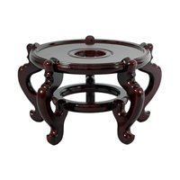 "8"" Rosewood Wooden Fishbowl Vase Plant Pot Display Stand"