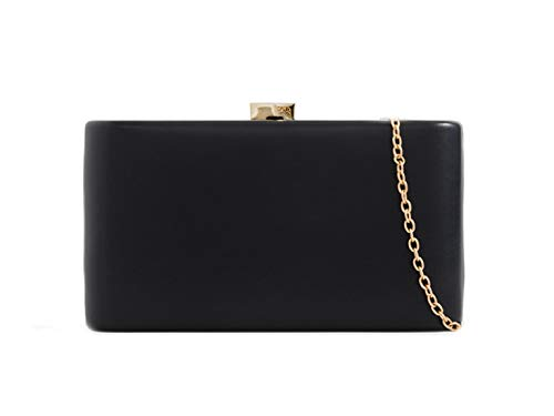Compact Clutch Women's Black Leahward Handbags Leather Faux Case Bag Hard Evening PF0Fafn