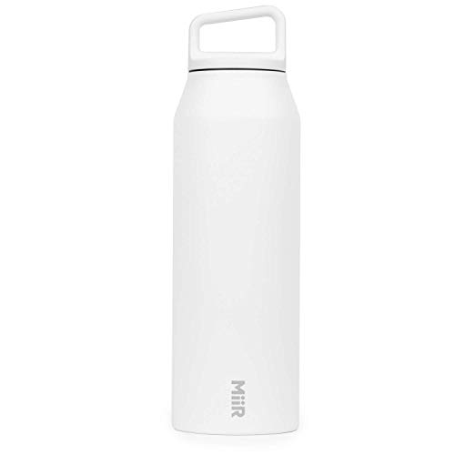 MiiR Insulated Wide Mouth Bottle with Screw Top Lid, White, 42oz