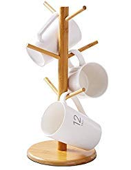 LifeCom Bamboo Mug Rack Tree, Organic Bamboo Mug Holder, Mug Hook,Mug Stand,Coffee Cup Dryer with 6 Hooks (Tree Cup)