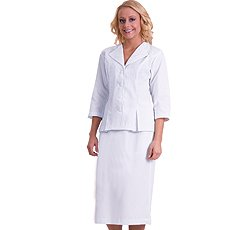 Embroidered Poplin Skirt - White Swan Uniforms White Swan 3/4 Sleeve White 2 Piece Suit (4)