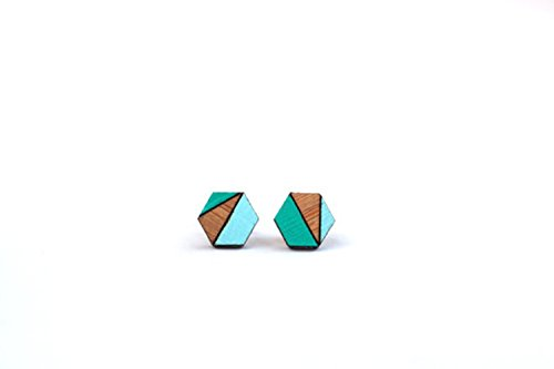- Hexagon Earring - Hexagon Bamboo Earrings - Geometric Stud Earrings - Mint Green & Aqua