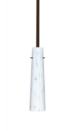 - Besa Lighting 1TT-567419-BR 1X50W E12 Camino Pendant with Carrera Glass, Bronze Finish