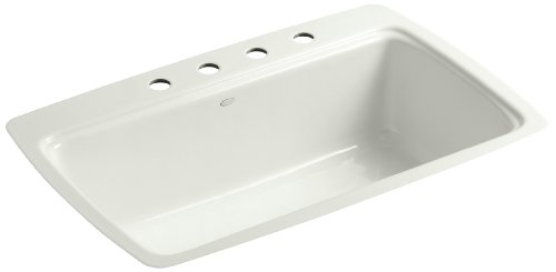 (Kohler K-5864-4-NY Cape Dory Tile-In Kitchen Sink with Four-Hole Faucet Drilling, Dune)