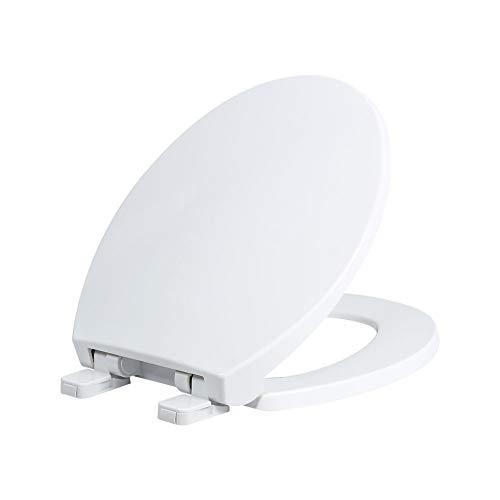 Soft Close Seat Cover - Round Toilet Seats with Cover, Slow Close Lid and seat, Made of Anti-bacterial Plastic, Quiet-Close, White