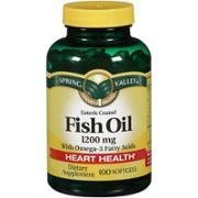 Spring Valley Enteric Coated Fish Oil Softgels with Omega-3, 1200mg, 100 (Enteric Coated Oil)