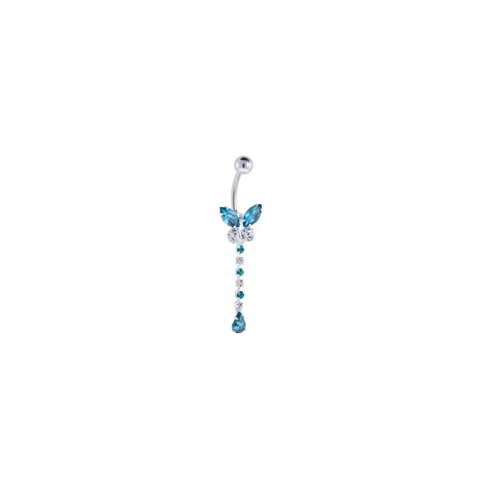 Crystal Aquamarine Gem Butterfly Extension Belly Ring
