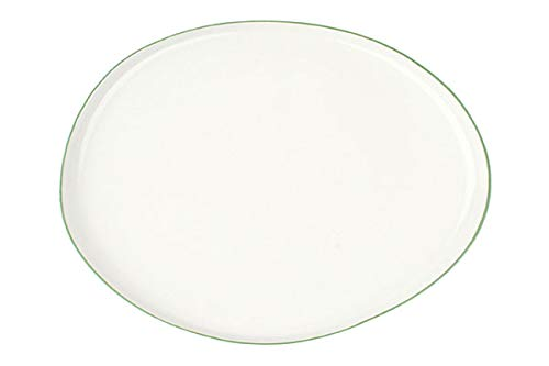 Canvas Home Abbesses Porcelain Serving Platter, Hand-Glazed Porcelain Serving Tray with Hand Painted Rim (Large, Solid White with Green Rim)