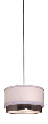 Artcraft Lighting Scandia Rod Pendant Light, Brushed Nickel with White Linen Shade