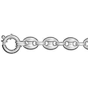 Bracelet Argent 925 Maille Grains de Café 11 mm Rhodié