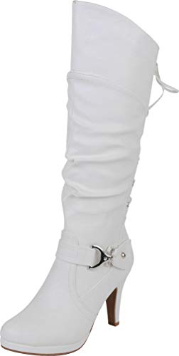 TOP Moda PAGE-65 Women's Knee High Round Toe Lace-up Slouched High Heel Boots, White Size 6