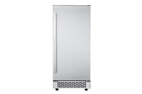 (Hanover HIM60701-6SS Luxury Series 15 in. Stainless Steel Reversible Door and Touch Controls Undercounter Ice Maker)