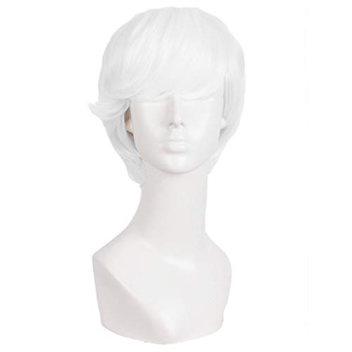 MapofBeauty 10 Inch/25cm Fashion Men Short Curly Hair Cosplay Wig (White) -