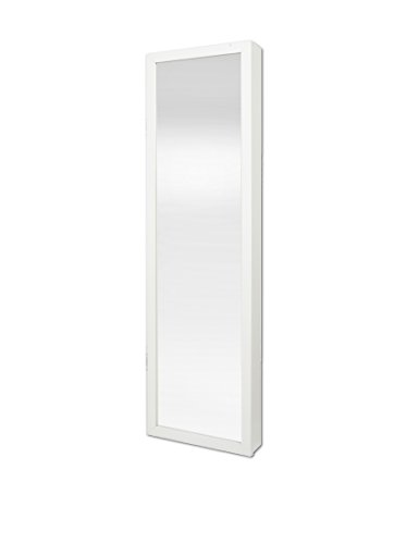 Plaza Astoria Wall/Door-Mount Jewelry Armoire, White (Mirror Jewelry Armoire Wall)