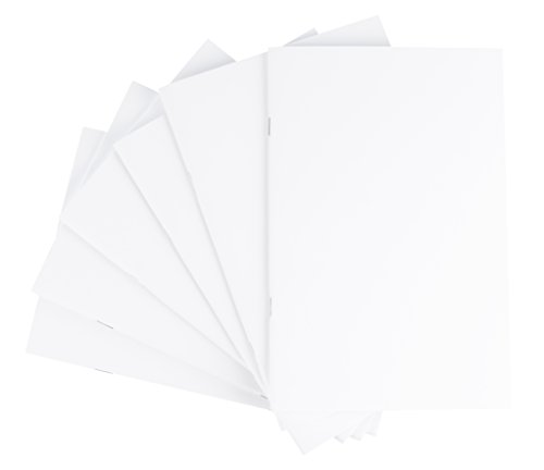 Sheet Notepad 24 (Blank Notebook - 6-Pack Unlined Books, Unruled Plain Travel Journals for Students, School, Children's Writing Books, Creative Class Projects, White, 5 x 8.5 Inches, Half Letter Sized, 24 Sheets Each)