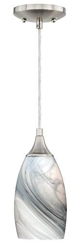 Vaxcel P0176 Milano Mini Pendant Marble Swirl Glass, Satin Nickel Finish