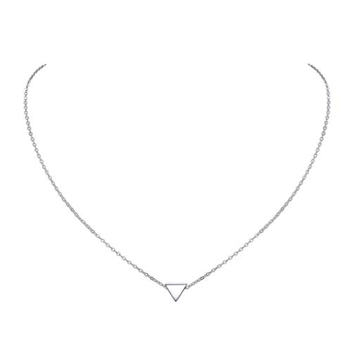 Hypoallergenic 925 Sterling Silver Tiny Pendant Necklace, Delicate Simple Geometric Triangle Necklaces for Women Girls (Necklace Pendant Silver)