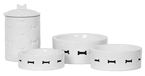 Unleashed Life Bone Appetit Collection - Porcelain Dog & Cat Bowl for Food/Water