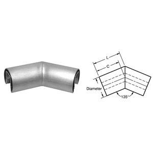 CRL Brushed Stainless 2'' Diameter 135º Horizontal Corner for 1/2'' (12 mm) or 5/8'' (16 mm) Glass Cap Railing