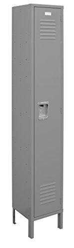 One Tier Locker 6 feet high Single Unit 1 Door with Louvers 15W x 18D x 78H Assembled Gray Metal Locker Perfect as a School Locker, Gym Locker or Lockers for Employees
