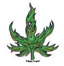 Ben Frank - Tribal Marijuana Pot Leaf - Mini Sticker / Decal