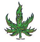 Ben Frank - Ben Frank - Tribal Marijuana Pot Leaf - Mini Sticker / Decal