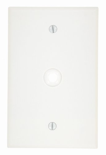 Leviton 80513-W 1-Gang .312-Inch Hole Device Telephone/Cable Wallplate, Midway Size, White