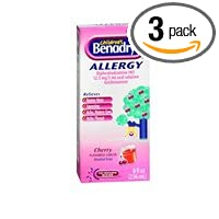Children's Benadryl Allergy Liquid Cherry 8 oz (Pack of ...