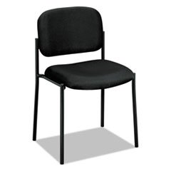Basyx VL606VA10 VL606 Series Stacking Armless Guest Chair, Black Fabric