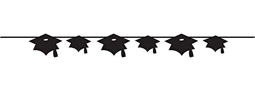 Grad Mortarboard Black Banner For Graduation Themed Party (5.5' Long) | Grad Cap, Mortarboard Hanging Decoration, Party Decor For College and High School Graduation Party Supplies -