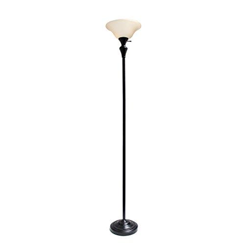 Elegant Designs LF2008-RBZ 1 Light Torchiere Floor Lamp w/Frosted Plastic Shade, Restoration Bronze