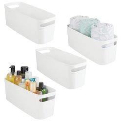 mDesign Juego de 2 organizadores de baño – Caja de plástico para guardar cosméticos y productos