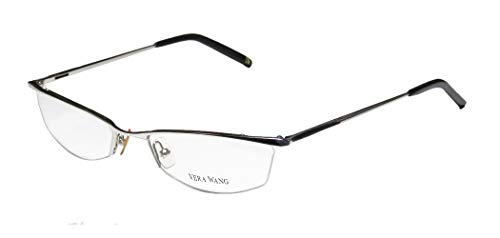 - Vera Wang V106 Womens/Ladies Cat Eye Half-rim School Teacher Look Elegant Eyeglasses/Eyewear (50-18-135, Chrome/Black)
