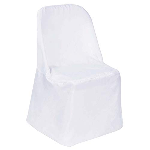 Efavormart 10pcs Polyester Linen White Folding Chair Cover Dinning Chair Slipcover for Wedding Party Event Banquet Catering (Folding Chairs Lot Job)