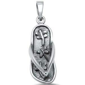 Sterling Silver Flip Flop Charm - Dragonfly Design Beach Flip Flop Sandal 925 Sterling Silver Pendant - Jewelry Accessories Key Chain Bracelet Necklace Pendants